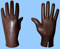 NEW MENS size 8 or Small RABBIT LINED BROWN GOATSKIN LEATHER GLOVES -Free Ship!