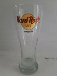 MADRID Hard Rock Cafe Glass Tall Pilsner Beer Drinking Clear Yellow Red Logo