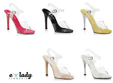 """Pleaser Gala-08 Shoes Sandals 4.5"""" High Heels Ankle Strap Pole Dancing Size 2-8"""