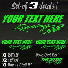 "Set of 3! 24"" & 12"" Racing Race Team My-Text GREEN Vinal Decal Stickers Graffix"