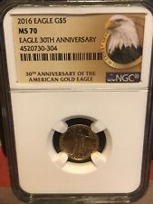 2016 1/10 OZ AMERICAN GOLD EAGLE 30th ANNIVERSARY LABEL NGC MS70