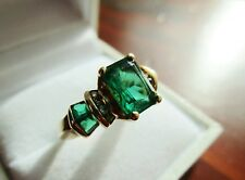 Baguette Cut Green Emerald and Diamond 10KT Yellow Gold Size 6.75 Women's Ring