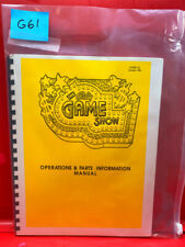 The Game Show Pinball Operations/Service/Repair /Troubleshooting Manual Bally G61