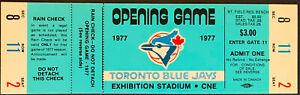 1977 Toronto Blue Jays Opening Game Full Ticket Light Blue Inaugural Season