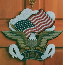 EAGLE DOOR BANNER PATRIOTIC PLASTIC CANVAS PATTERN INSTRUCTIONS