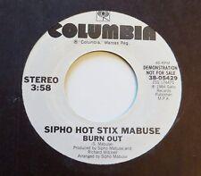 Sipho Hot Stix Mabuse : Burn Out  (Promo 45 single) Funk Electronic