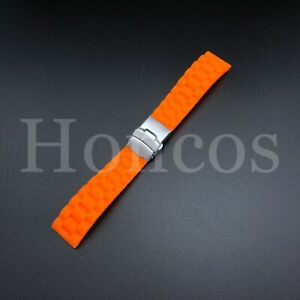 ORANGE Soft Rubber Watch Band Strap with Deployant Clasp USA SELLER