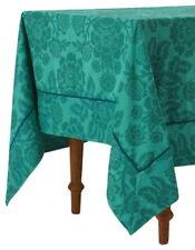 "Anthropologie Tablecloth Dark Turquoise Magnolia 72"" x 90"" Cotton Machine Wash"