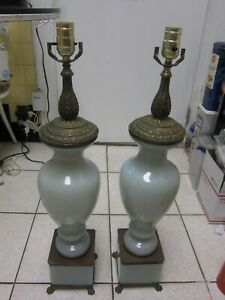 A Pair Of Lamps Vintage French Opaline Glass In White/Mist Green AMAZING