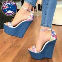 Women's Designer Floral Print Denim High Quality Peep Toe High Heel Wedge