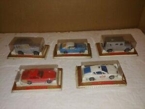 5 Vintage 70s F/S Sealed Majorette,Cars,Alpine A,Porsche 924,Toyota Land Cruiser