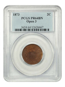 1873 2c PCGS PR 64 BN (Open 3) Low Mintage Issue - 2-Cent Piece