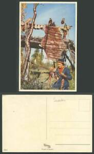 Sweden Swedish Woman Ethnic Life Drying Hanging Animal's Skin Old Color Postcard