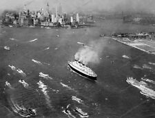 8x10 Print Historic Ship Cunard Line RMS Queen Mary Maiden Voyage NYC 1936 #QM87