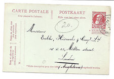 July 16 1912 Belgium Postcard/Postal Stationary - Brussels to London*