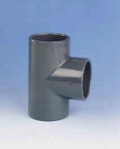 PVC T-Stück 90° egal, d = 10 bis d = 400, 3 x Klebemuffe