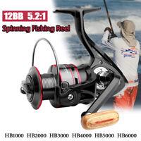 HB1000-6000 Spinning Fishing Reel 12BB Metal Spool Gear Ratio 5.2:1 Left Right