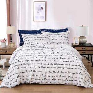 Letters Quilt Doona Cover Set Queen Size Bedding Linen Pillow Cases Duvet Cover