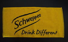 Schweppes Yellow & Black One Sided Bar Pub Cotton Small Towel NEW