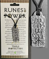 """AMULET RUNE OF POWER """"TRIPLE PROTECTION"""" NORSE VIKING WICCA Pendant Necklace"""