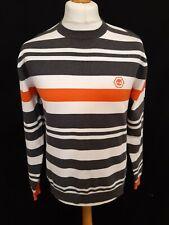 Timberland Crew Neck Jumper - Size S - Orange, Grey & White - Cotton Blend