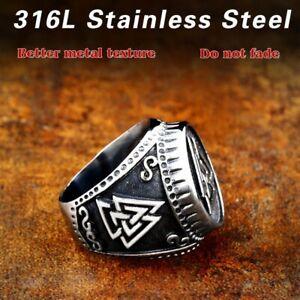 Stainless Steel Viking Vikings Thor Valknut Runes Mens Statement Signet  Ring