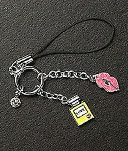 Cell Phone Charm Strap Dangle Lips Perfume Crystal & Enamel Silver Plated Gift