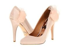 NIB Badgley Mischka CIRI wedding bridal satin/chiffon pumps heels shoes Nude 10