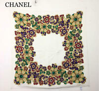 P502Chanel Chanel Silk 100 Large-Format Scarf Camellia Pattern