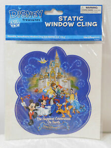 2005 Disney World VINYL WINDOW STATIC CLING DECAL Stitch Ariel Lion King Belle+