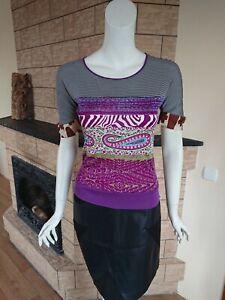 ETRO Milano Stretch Top Blouse Purple Paisley Print Short Sleeve Vintage IT 40 M