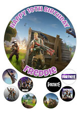 """Fortnite # Round Iced / Icing Personalised Cake Topper 7.5"""" + Cupcake Tops"""