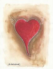 """""""RED HEART"""" Signed Tempera & Pencil Painting on Watercolour Paper 2000"""