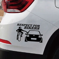 1x RESPECT FOR BIKERS Funny Auto Car Window Decals Waterproof Sticker 20cm*13cm