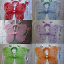 13 Colour 1 Butterfly Fairy Wings Wand Headband Fancy Dress Hen Night Party