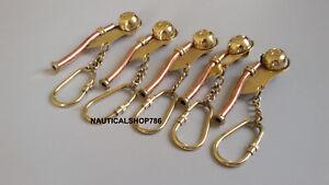 Marine Brass Boatswain Navy Ship Bosun's Key Chain Whistle 5 pcs
