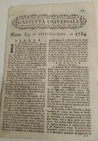 1784 GAZZETTA UNIVERSALE SU IMPALAMENTI IN TURCHIA; TERREMOTO IN ISLANDA; GUERRA