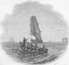 ANGOLA. Gallant capture of slaver, Fish Bay, antique print, 1845