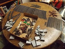 "LARGE LOT OF OLD VTG MODEL RAILROAD TRACKS, ""STONE"" BRIDGE PARTS, PHONE POLES+++"