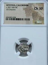 NGC Ch.XF Bithynia, Calchedon AR Drachm. 387-340 BC. Bull/Incuse