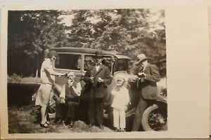 Real Photo Family Car Automobile Soda Pop Bottles Postcard Old Vintage Card View