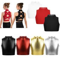 Girls Crop Tops for Dance Kids Mock Neck Sleeveless Tank Top Gym Sports Blouse