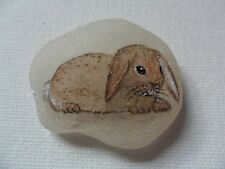Little brown rabbit miniature painting on sea glass - hand painted animal pets