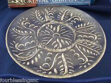 """CRYSTAL 4-SECTION RELISH/SERVING PLATE-11 1/2""""-NEVER USED-CONTEMPORARY-SWIRL"""