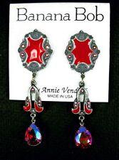 BANANA BOB Vtg RED AB SWAROVSKI CRYSTAL Rhinestone ENAMEL Dangle Clip Earrings