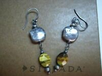 Silpada Hammered Sterling Silver Tigers Eye Dangle Earrings W1327