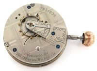 .NICE 1888 WALTHAM 18S 11J LEVER SET MENS POCKET WATCH MOVEMENT, DIAL & CROWN.
