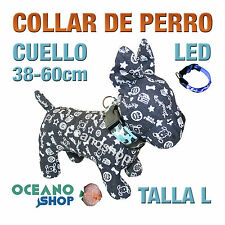 COLLAR PERRO CAMUFLAJE LED AZUL AJUSTABLE TALLA L CUELLO 38-60cm L36LA 3119