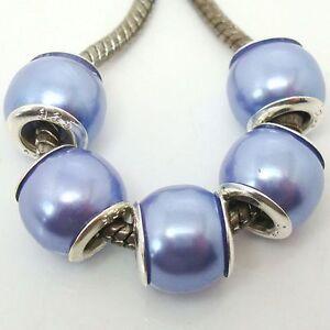 Fashion Imitation Pearl Big Hole Silver Core Beads Fit European Charm Bracelet