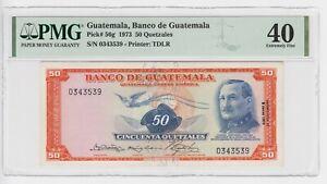 Guatemala 50 Quetzal P56g 1973 TDLR José María Orellana PMG40 XF Original Bill